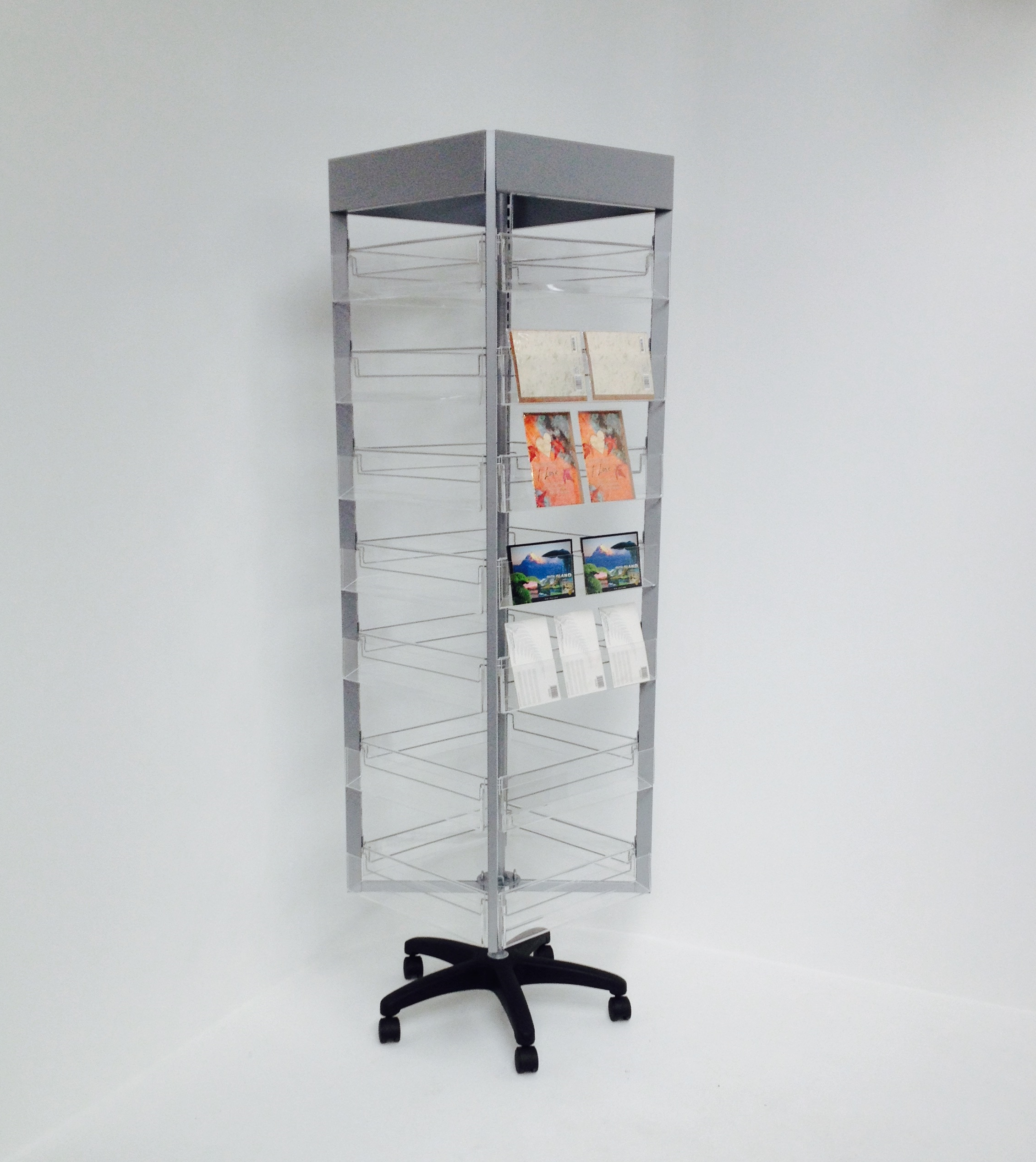 Exhibition Stands Nz : Rotating display stand with acrylic pockets wire