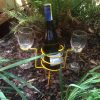 wire wine bottle and glasses holder