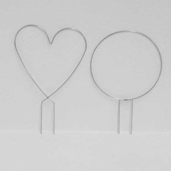 Wire Topiary Stands - Hearts and Circles - display