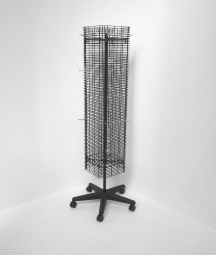 Revolving slat grid wire mesh stand - shopfitting display